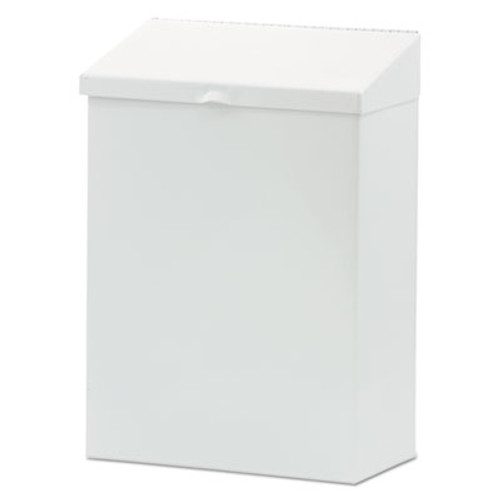 Hospital Specialty Co. Feminine Hygiene Waste Receptacle, 8 1/4w x 4 1/2d x 11 5/8h, Metal, White (HOS ND-1W)