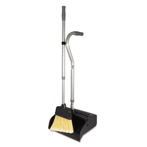 "Unger Telescopic Ergo Dust Pan with Broom, 12"" Wide, 45"" High, Metal, Black/Silver (UNG EDTBG)"