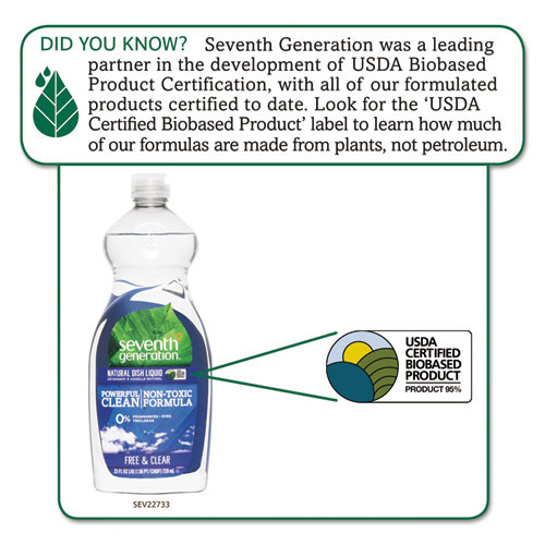 Seventh Generation Natural Dishwashing Liquid  Free and Clear  25 oz Bottle (SEV22733EA)