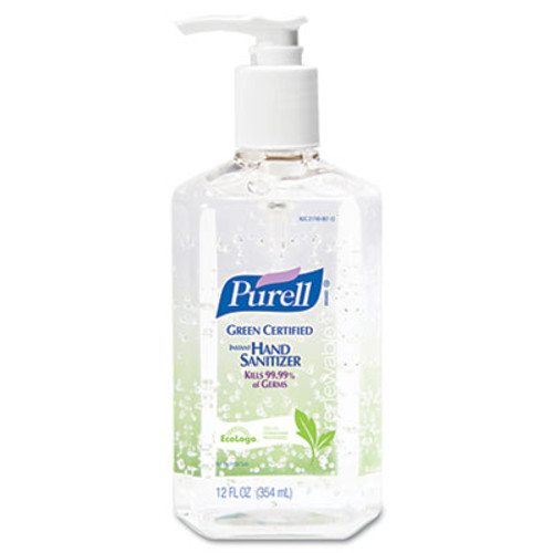 PURELL Advanced Green Certified Instant Hand Sanitizer Gel, 12oz Pump Bottle, Clear (GOJ369112EA)