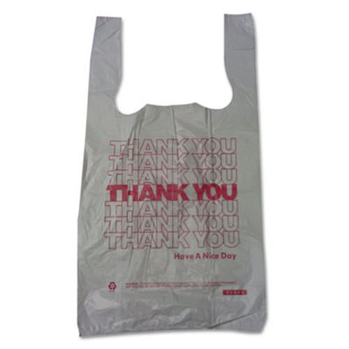 Barnes Paper Company Plastic Thank-You T-Sack  2 mil  4  x 15   White  2 000 Carton (BPC 6415THYOU)