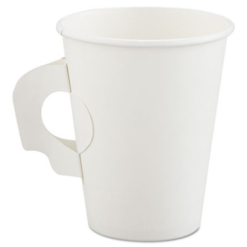 Dart Polycoated Hot Paper Cups with Handles  8 oz  White (SCC 378HW)