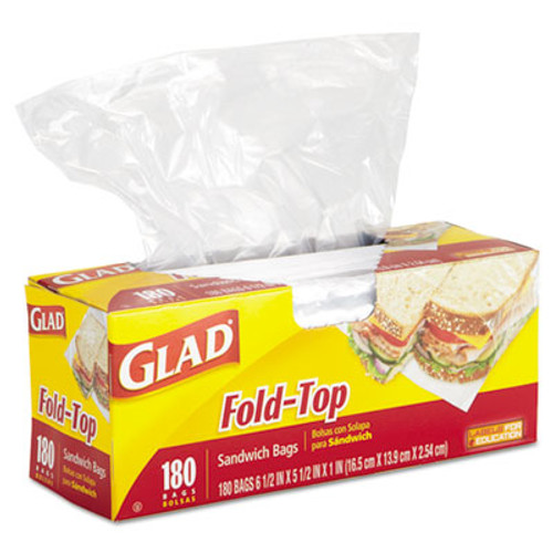 Glad Fold-Top Sandwich Bags, 6 1/2 x 5 1/2, Clear, 180/Box (CLO 60771)