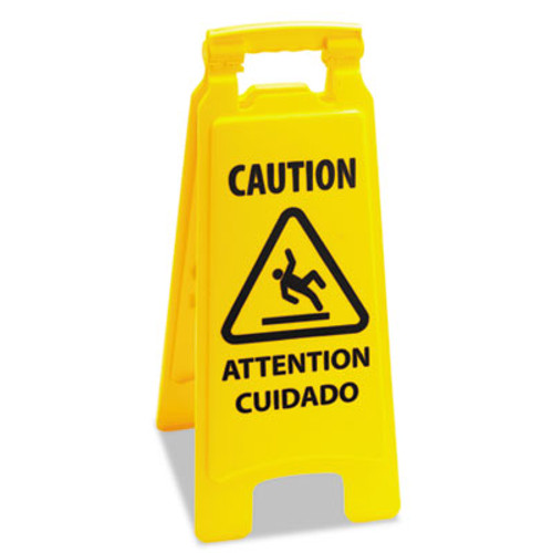Boardwalk Caution Safety Sign For Wet Floors  2-Sided  Plastic  10 x 2 x 26  Yellow (UNS 26FLOORSIGN)