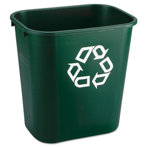 Rubbermaid Commercial Deskside Paper Recycling Container, Rectangular, Plastic, 7 gal, Green (RCP 2956-06 GRE)
