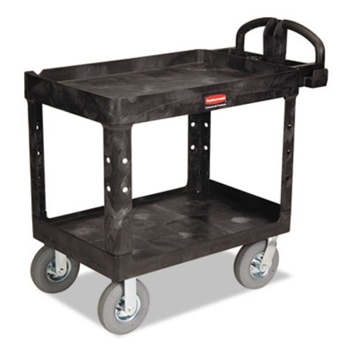 Rubbermaid Commercial Heavy-Duty Utility Cart  Two-Shelf  25 88w x 45 25d x 37 13h  Black (RCP 4520-10 BLA)