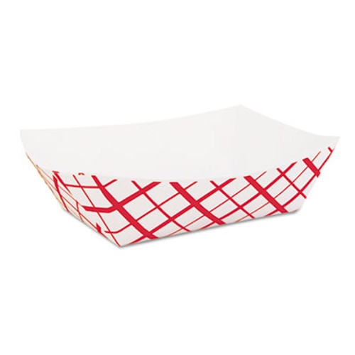 SCT Paper Food Baskets, 2lb, Red/White, 1000/Carton (SCH 0417)
