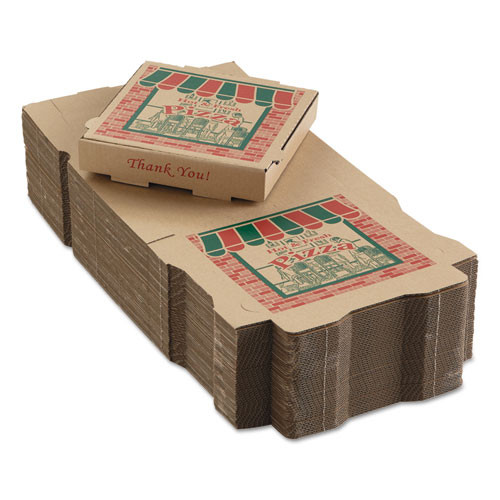 ARVCO Corrugated Pizza Boxes  10 x 10 x 1 3 4  Kraft  50 Carton (ARV9104314)