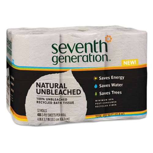Seventh Generation Natural Unbleached 100% Recycled Bath Tissue, 2-Ply, 400 Sheets/Mega Roll, 12/Pk (SEV 13735)
