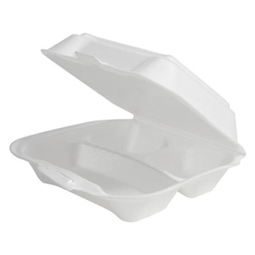 Plastifar Double-Foam Food Containers, 8 x 8 x 3, White, 3-Compartment, 2/Carton (PST 12039)