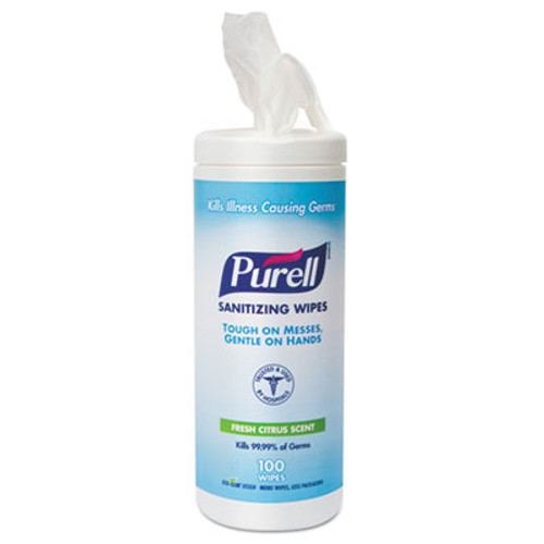 "PURELL Premoistened Hand Sanitizing Wipes, Cloth, 5 3/4"" x 7"", 100/Canister (GOJ 9111-12)"