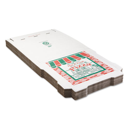 ARVCO Corrugated StoreFront Pizza Boxes  Kraft  20 x 20  White Red Green  25 Carton (ARV9204393)
