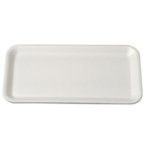 Genpak Supermarket Trays  Foam  White  10 3 4 x 5 3 4 x 1 2 (GNP 10SWH)