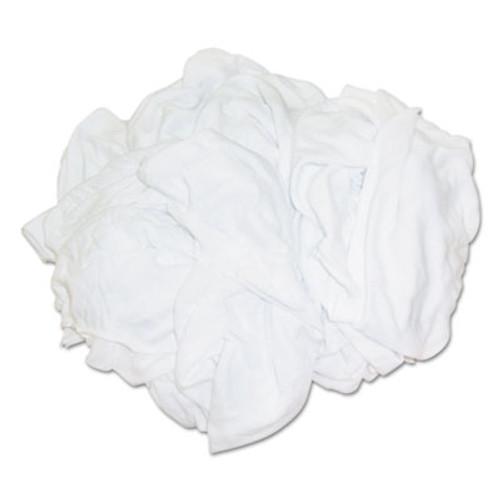 HOSPECO New Bleached White T-Shirt Rags  Multi-Fabric  25 lb Polybag (HOS 455-25BP)