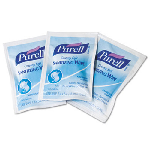 PURELL Cottony Soft Individually Wrapped Sanitizing Hand Wipes, 5 x 7, White, 1000/CT (GOJ 9026-1M)
