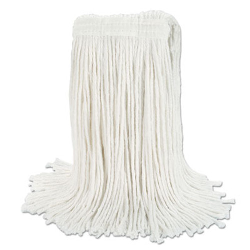 "Boardwalk Banded Rayon Cut-End Mop Heads, White, 24 oz, 1 1/4"" Headband, 12/Carton (BWK RM03024S)"