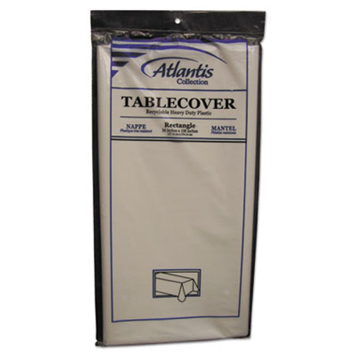 Atlantis Plastics Plastic Table Cover  Rectangular  54 x 108  White  12 Carton (ATL2TCW10812)
