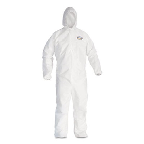 KleenGuard* A20 Elastic Back and Cuff Hooded Coveralls, 4X-Large, White, 20/Carton (KCC 49117)