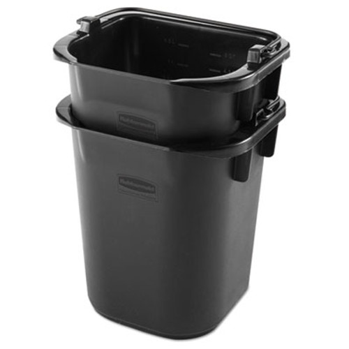 Rubbermaid Commercial Executive Heavy Duty Pail, Black, Plastic, 5 Quarts, 9.3 w x 7.5 d x 8.5 h (RCP 1857378)