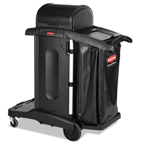Rubbermaid Commercial Executive High Security Janitorial Cleaning Cart  23 1w x 39 6d x 27 5h  Black (RCP 1861427)