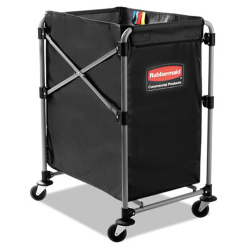 Rubbermaid Commercial Collapsible X-Cart  Steel  Four Bushel Cart  20 33w x 24 1d x 34h  Black Silver (RCP 1881749)