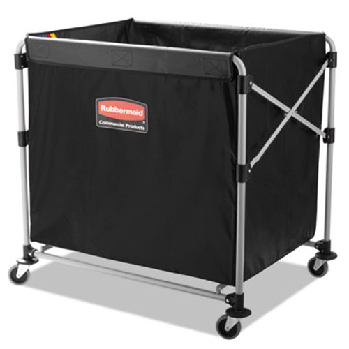 Rubbermaid Commercial Collapsible X-Cart  Steel  Eight Bushel Cart  24 1w x 35 7d x 34h  Black Silver (RCP 1881750)