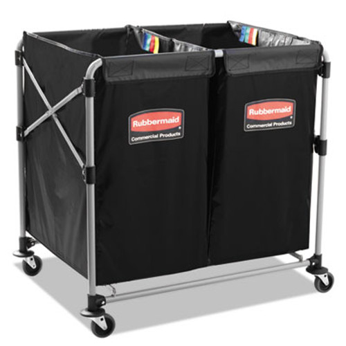 Rubbermaid Commercial Collapsible X-Cart  Steel  2 to 4 Bushel Cart  24 1w x 35 7d x 34h  Black Silver (RCP 1881781)