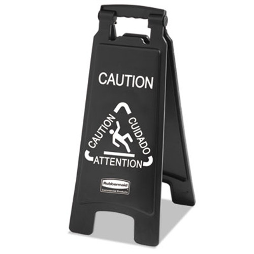 Rubbermaid Commercial Executive 2-Sided Multi-Lingual Caution Sign  Black White  10 9 10 x 26 1 10 (RCP 1867505)
