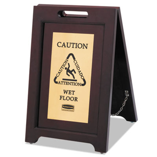 Rubbermaid Commercial Executive 2-Sided Multi-Lingual Caution Sign  Brown Brass  15 x 23 1 2 (RCP 1867507)