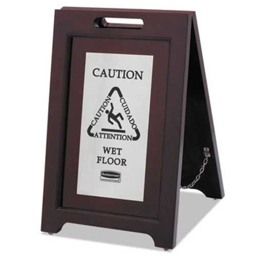 Rubbermaid Commercial Executive 2-Sided Multi-Lingual Caution Sign  Brown Stainless Steel 15 x 23 1 2 (RCP 1867508)