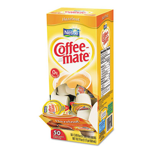 Coffee mate Liquid Coffee Creamer  Hazelnut  0 38 oz Mini Cups  50 Box (NES35180BX)