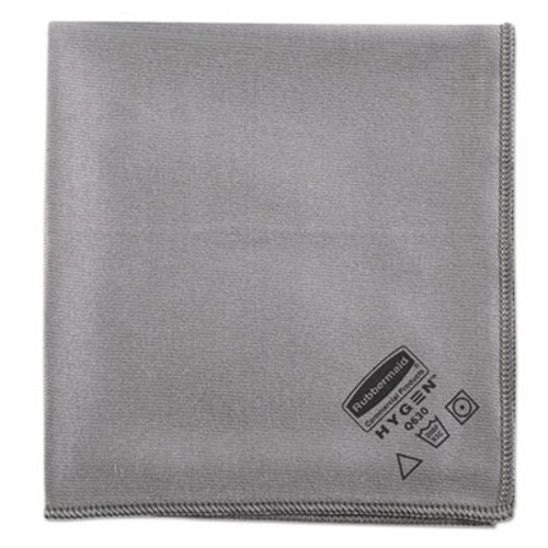 Rubbermaid Commercial Executive Glass Microfiber Cloths, Gray, 16 x 16, 12/Pack (RCP 1867398)