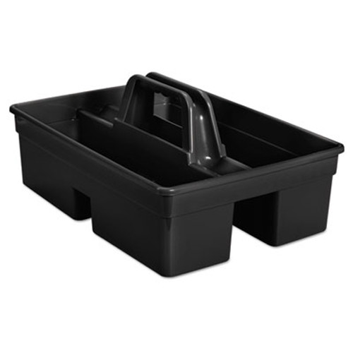 "Rubbermaid Commercial Executive Carry Caddy, 2-Compartment, Plastic, 10 3/4""W x 6 1/2""H, Black (RCP 1880994)"