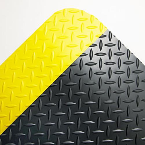 Crown Industrial Deck Plate Anti-Fatigue Mat  Vinyl  36 x 60  Black Yellow Border (CRO CD35 BYB)