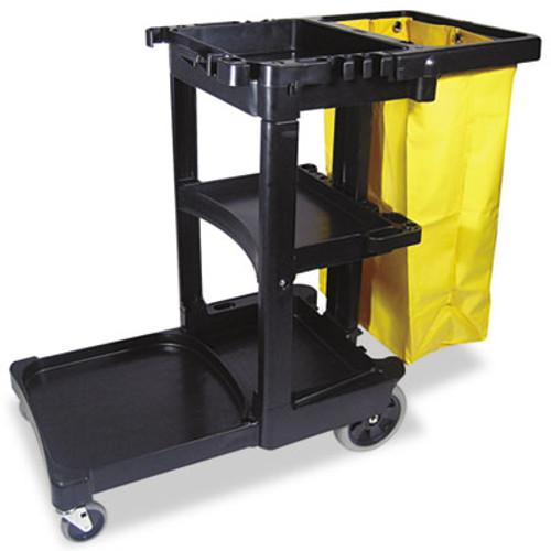 RubbermaidA Commercial Multi-Shelf Cleaning Cart, Three-Shelf, 20w x 45d x 38.25h, Black (RCP 6173-88 BLA)