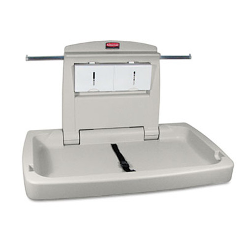Rubbermaid Commercial Sturdy Station 2 Baby Changing Table  33 5 x 21 5  Platinum (RCP 7818-88 PLA)