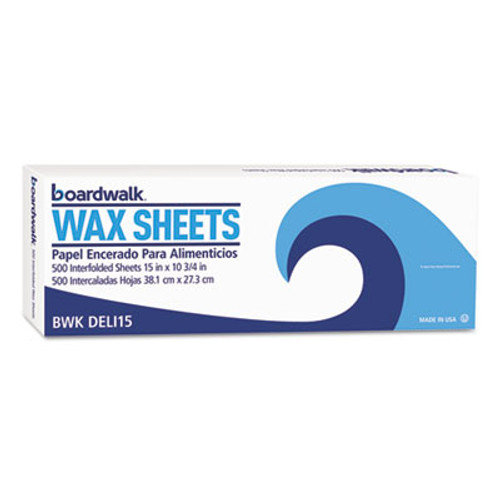"Boardwalk Interfold-Sheet Deli Paper, 15"" x 10 3/4"", White, 500 Sheets/Box, 12 Box/Carton (BWK DELI15)"