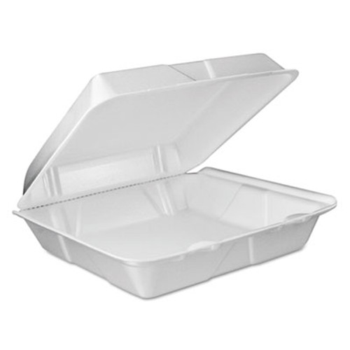 Dart Foam Vented Hinged Lid Containers  9w x 9 2 5d x 3h  White  100 PK  2 PK CT (DCC 90HTPF1VR)
