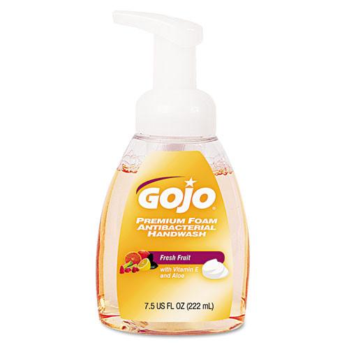 GOJO Premium Foam Antibacterial Hand Wash  Fresh Fruit Scent  7 5oz Pump (GOJ571006EA)