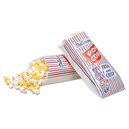Bagcraft Pinch-Bottom Paper Popcorn Bag  4w x 1-1 2d x 8h  Blue Red White  1000 Carton (BGC 300471)
