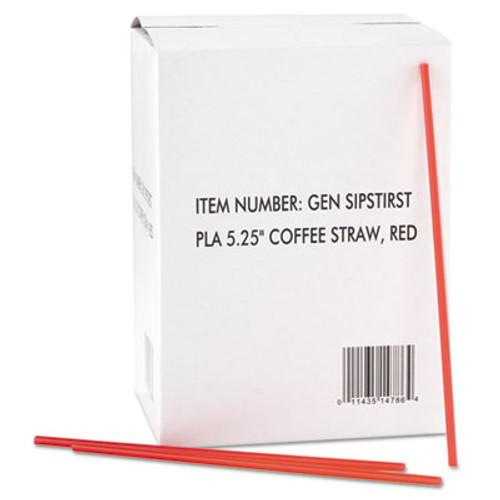 GEN Coffee Stirrers  Red White  Plastic  5 1 4   1000 Box  10 Boxes Carton (GEN SIPSTIRST)