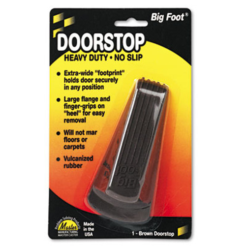 Master Caster Big Foot Doorstop, No Slip Rubber Wedge, 2 1/4w x 4 3/4d x 1 1/4h, Brown (MST 00920)