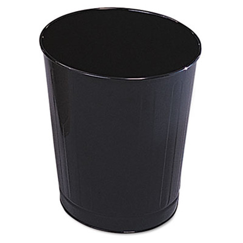 Rubbermaid Commercial Fire-Safe Wastebasket, Round, Steel, 6 1/2 gal, Black, 6/Carton (RCP WB26BLA)