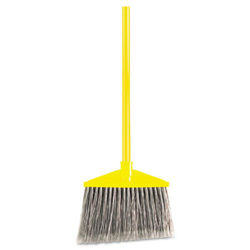 Rubbermaid Commercial Angled Large Broom  Poly Bristles  46 7 8  Metal Handle  Yellow Gray (RCP 6375 GRA)