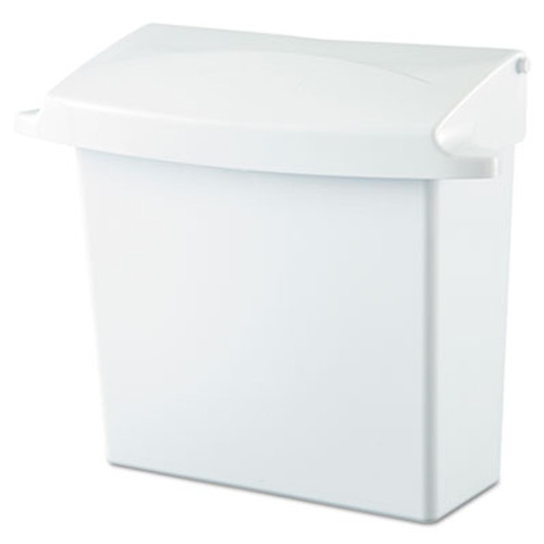 Rubbermaid Commercial Sanitary Napkin Receptacle with Rigid Liner, Rectangular, Plastic, White (RCP 6140 WHI)