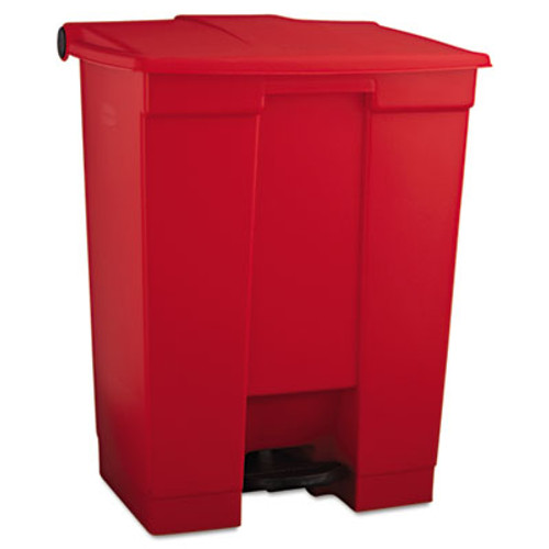 Rubbermaid Commercial Indoor Utility Step-On Waste Container, Rectangular, Plastic, 18gal, Red (RCP 6145 RED)