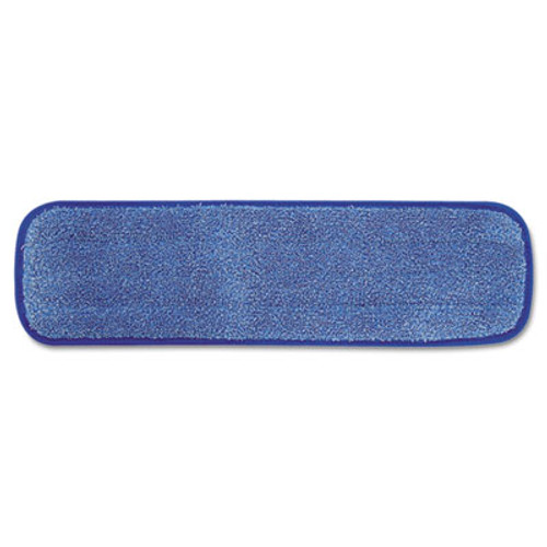 "Rubbermaid Commercial Microfiber Wet Room Pad, Split Nylon/Polyester Blend, 18"", Blue, 12/Carton (RCP Q410 BLU)"