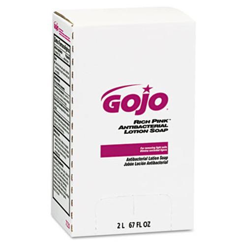 GOJO RICH PINK Antibacterial Lotion Soap Refill, 2000mL, Pink, 4/Carton (GOJ 7220)