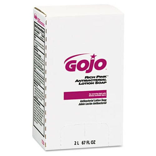GOJO RICH PINK Antibacterial Lotion Soap Refill  2000mL  Pink  4 Carton (GOJ 7220)