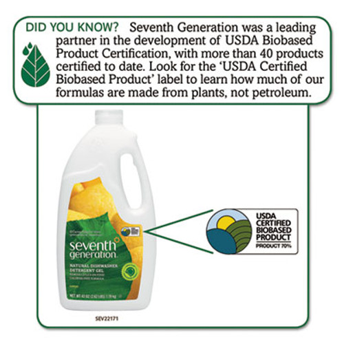 Seventh Generation Natural Automatic Dishwasher Gel  Lemon  42 oz Bottle (SEV22171EA)